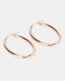 Yellow Jewellery Oval Hoops Rose Gold Plated