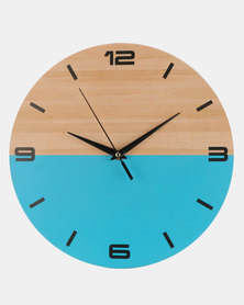 Royal T Wooden Color Block Wall Clock Blue