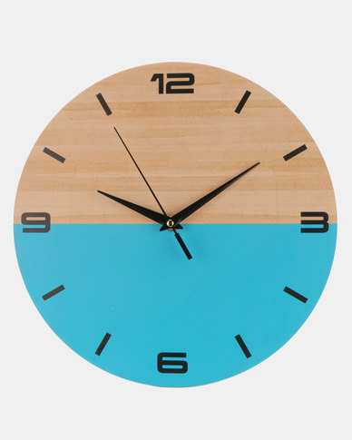 Royal T Wooden Color Block Wall Clock Blue