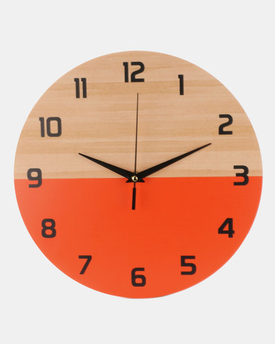 Royal T Wooden Color Block Wall Clock Red