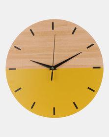 Royal T Wooden Color Block Wall Clock Yellow