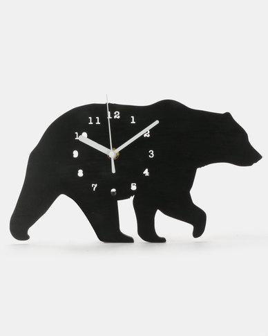 Royal T Bear Wall Clock Black