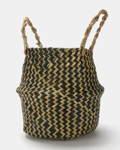 Royal T Wicker Basket Black And Natural