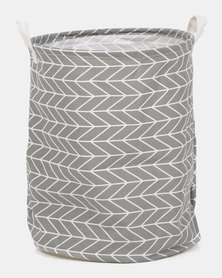Royal T Geometric Laundry Basket Grey