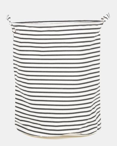 Royal T Striped Laundry Basket Black/White