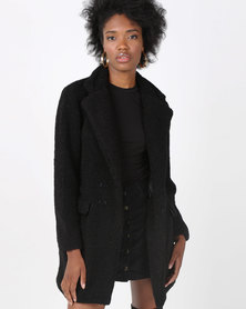 AX Paris Teddy Coat Black