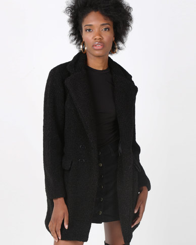 AX Paris Teddy Coat Black