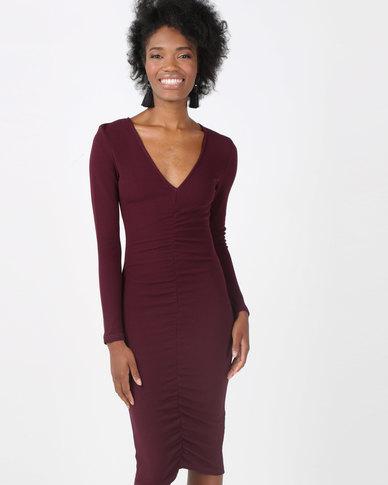 AX Paris Ruched Sleeved Dress Plum