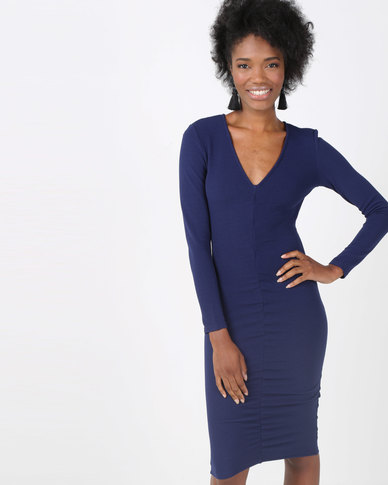 AX Paris Ruched Sleeved Dress Navy