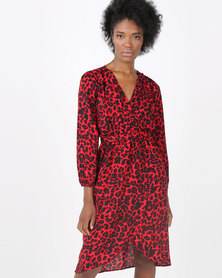 AX Paris Leopard Print V-Neck Wrap Dress Red