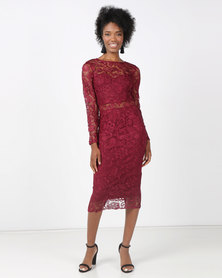 AX Paris Lace Front Midi Dress Plum