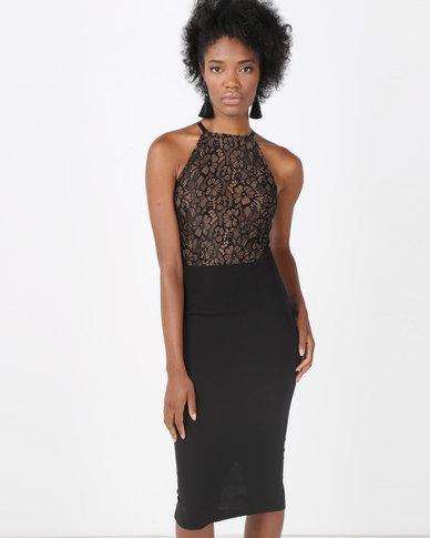 AX Paris Black Contrast Lace Top Midi Dress