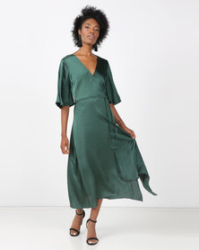 AX Paris Midi Dress With Ruffle Sleeves And Tie Waist Green