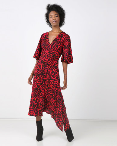 AX Paris Leopard Printed Midi Dress Red