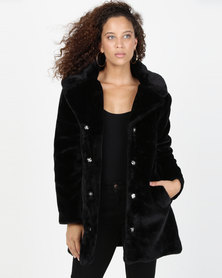 AX Paris Faux Fur Coat With Collar Black