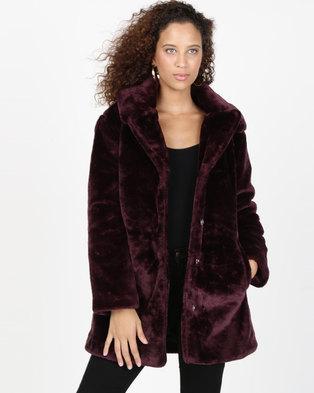 AX Paris Faux Fur Coat With Collar Wine