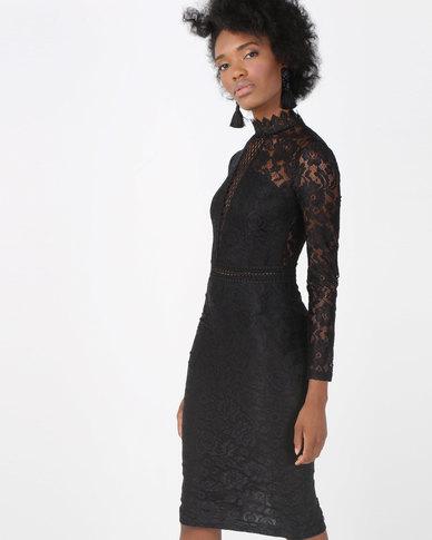 AX Paris High Neck Lace Dress With Frill Hem Black