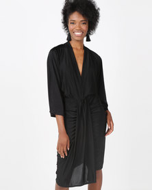 AX Paris Slinky Midi Dress With Wrap Detail Black