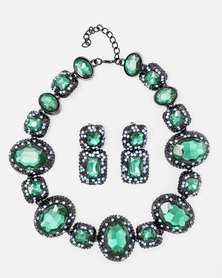 The Jewellery Box Heavy Crystal Necklace and Earring Green