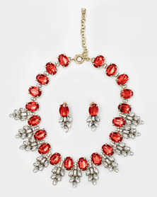 The Jewellery Box Crystal Leaf Necklace and Earring Red