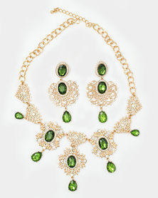 The Jewellery Box Leaf cut Necklace and Earring Green