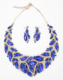 The Jewellery Box Leaf Vine Crystal Necklace & Earring Blue