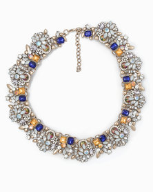The Jewellery Box Vintage Crystal Necklace Navy Blue