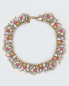 The Jewellery Box Vintage Crystal Necklace Light Pink