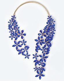 The Jewellery Box Crystal Flower Choker Blue