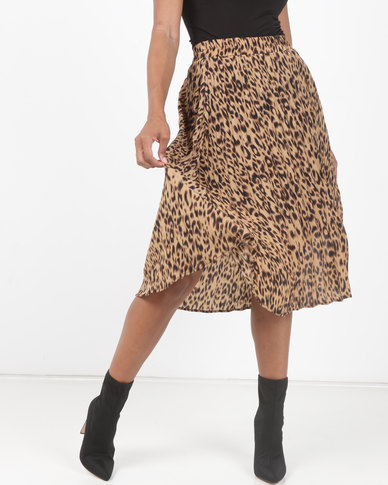 Utopia Animal Print Pleated Skirt Neutral