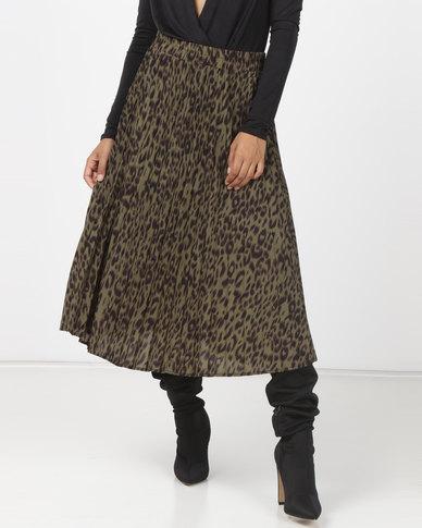 Utopia Animal Print Pleated Skirt Olive