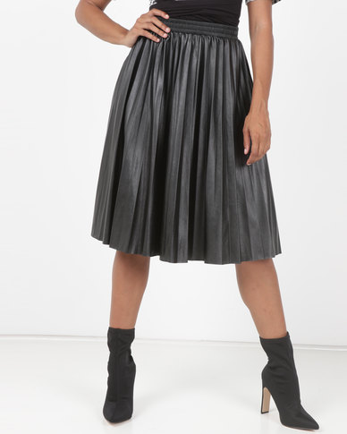 Utopia Pleated PU Skirt Black