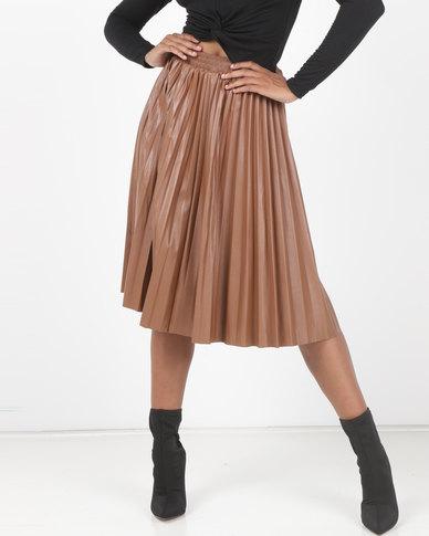 Utopia Pleated PU Skirt Tan