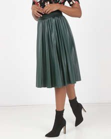 Utopia Pleated PU Skirt Dark Green