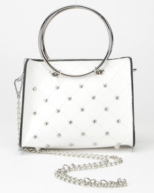 Utopia Studded Mini Crossbody Bag White