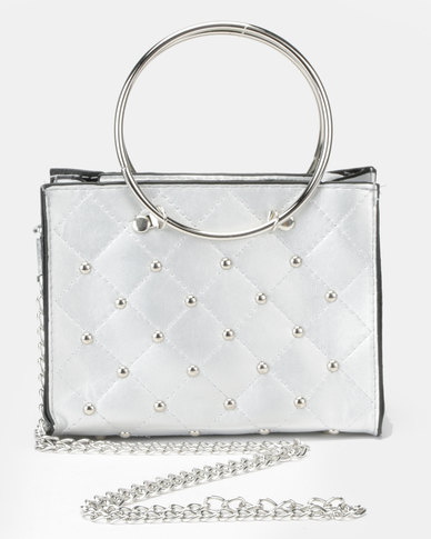 Utopia Studded Mini Crossbody Bag Silver