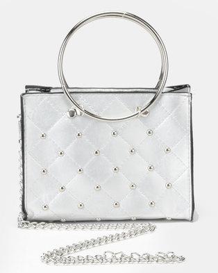 Utopia Studded Mini Crossbody Bag Silver