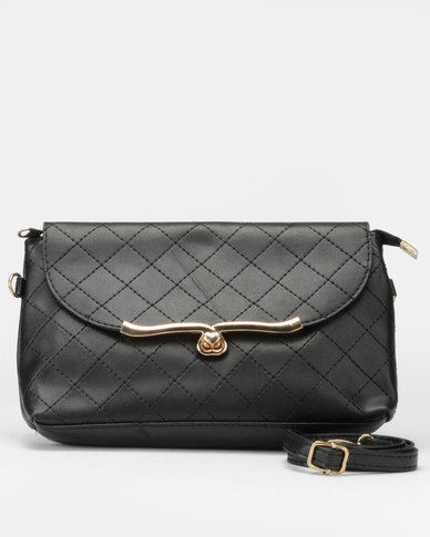 Utopia Quilt Stitch Crossbody Bag Black