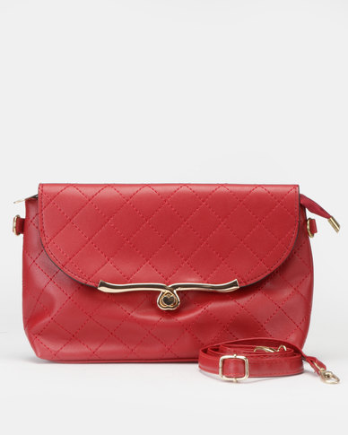 Utopia Quilt Stitch Crossbody Bag Red