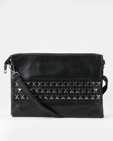 Utopia Cross Stud Crossbody Bag Black