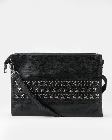 Utopia Cross Stud Crossbody Bag Black