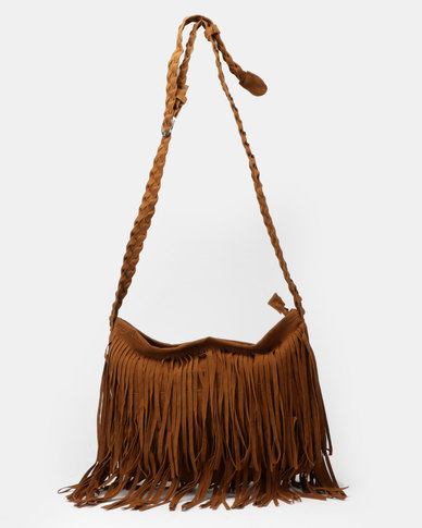 Utopia Tassle Crossbody Bag Brown