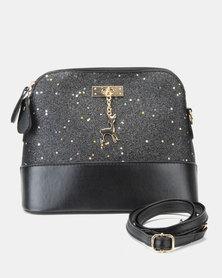 Utopia Shimmer Mini Crossbody Bag Black
