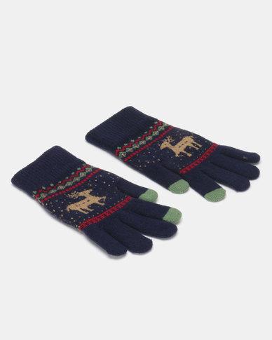 Utopia Deer Gloves Navy
