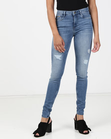 Sissy Boy Axel Mid Rise With Rips Skinny Jeans Med Blue