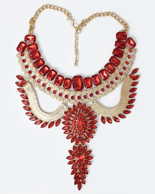 The Jewellery Box Crystal Chunky Necklace Red