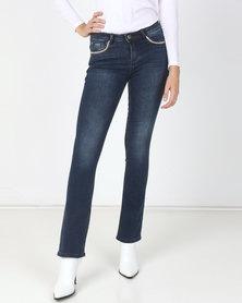 Sissy Boy Axel Mid Rise Pocket Bling Bootleg Jeans Dark Blue