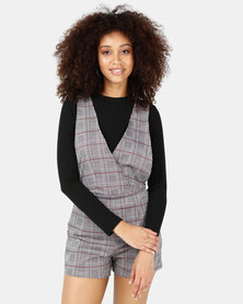 SassyChic Kate Check Playsuit Grey
