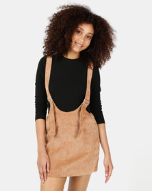 SassyChic Yana Pinafore Dress Camel