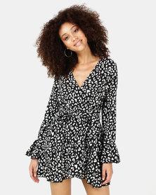 SassyChic Kitty Wrap Dress Black/White